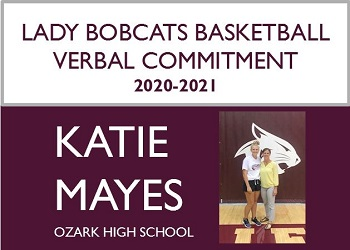 Promo design announcing verbal commitment with small pic of Coach Mullis standing next to Katie Mayes