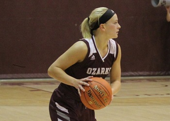 Lady Bobcat Aleksei Smith dribbling - stock file photo from prior game