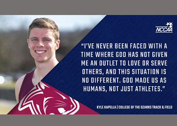 Graphic from NCCAA with Kapella's head shot and a quote from article