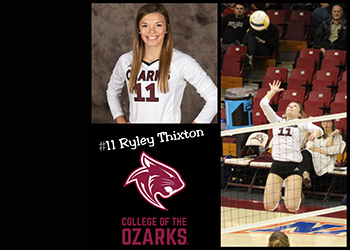 Montage of Ryle Thixton: Upper picture is her player picture, below is the CofO Bobcats logo, and to the right is a picture of her spiking the ball.