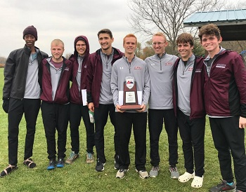 Men's cross country team holding their 2nd place trophy