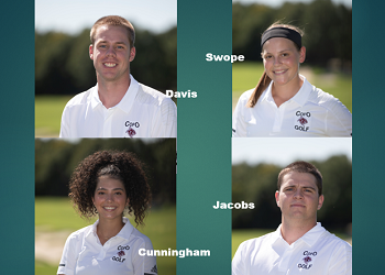 portrait pics of Davis, Jacobs, Cunningham, and Swope